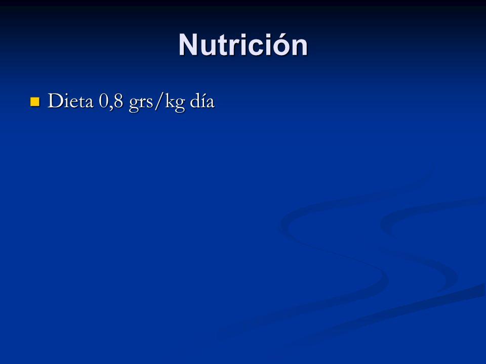Nutrición Dieta 0,8 grs/kg día Dieta 0,8 grs/kg día