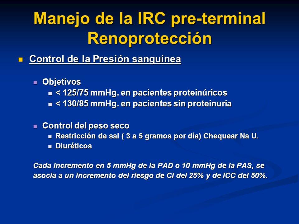 Manejo de la IRC pre-terminal Renoprotección Control de la Presión sanguínea Control de la Presión sanguínea Objetivos Objetivos < 125/75 mmHg. en pac