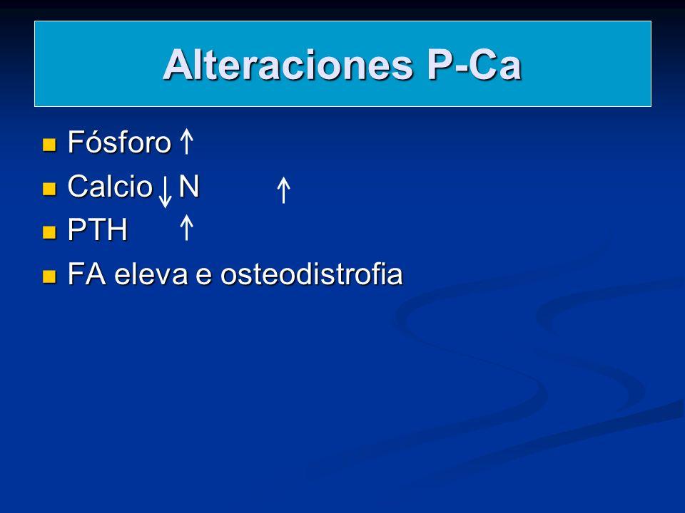 Alteraciones P-Ca Fósforo Fósforo Calcio N Calcio N PTH PTH FA eleva e osteodistrofia FA eleva e osteodistrofia