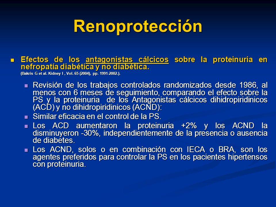 Renoprotección Efectos de los antagonistas cálcicos sobre la proteinuria en nefropatía diabética y no diabética. Efectos de los antagonistas cálcicos