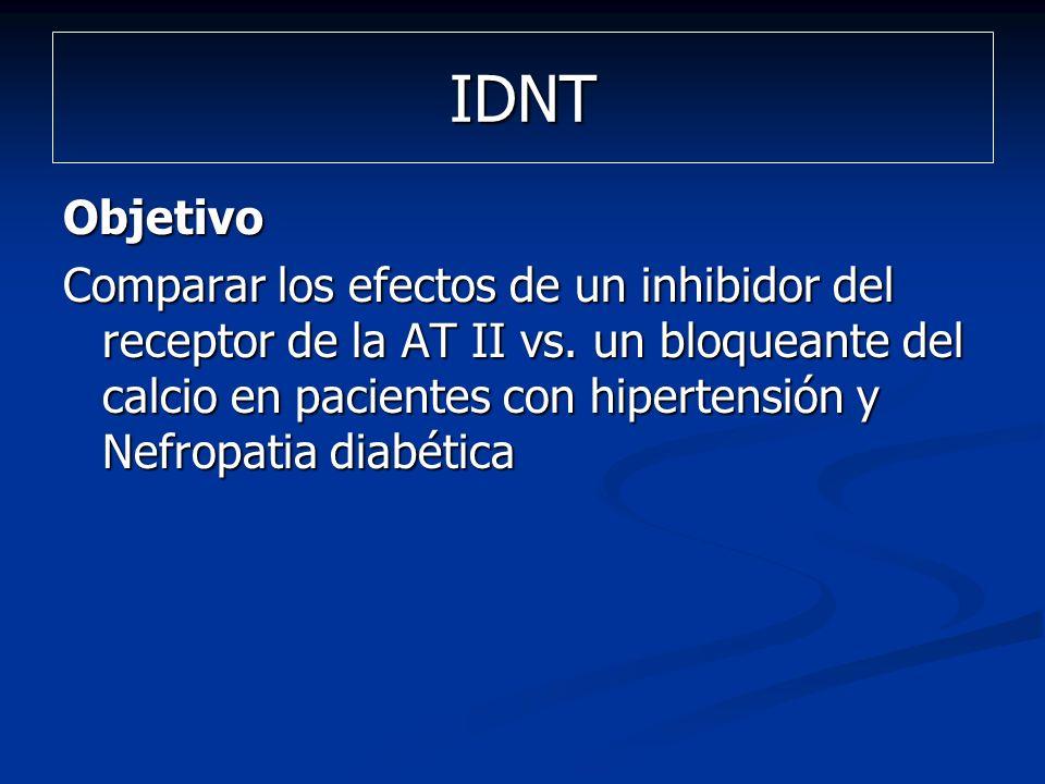 IDNT Objetivo Comparar los efectos de un inhibidor del receptor de la AT II vs. un bloqueante del calcio en pacientes con hipertensión y Nefropatia di