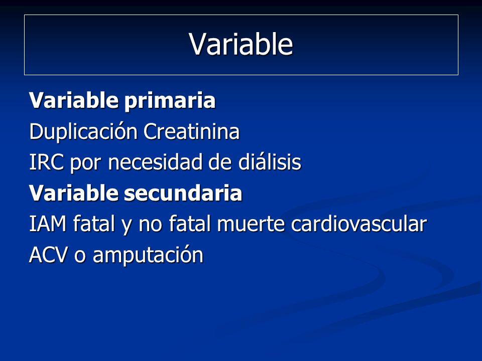 Variable Variable primaria Duplicación Creatinina IRC por necesidad de diálisis Variable secundaria IAM fatal y no fatal muerte cardiovascular ACV o a