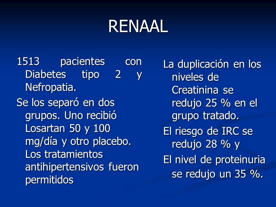 RENAAL 1513 pacientes con Diabetes tipo 2 y Nefropatia. Se los separó en dos grupos. Uno recibió Losartan 50 y 100 mg/día y otro placebo. Los tratamie