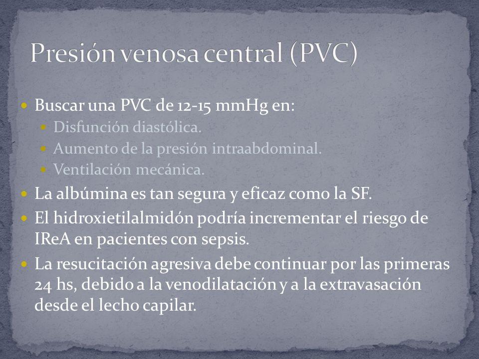 Buscar una PVC de 12-15 mmHg en: Disfunción diastólica. Aumento de la presión intraabdominal. Ventilación mecánica. La albúmina es tan segura y eficaz