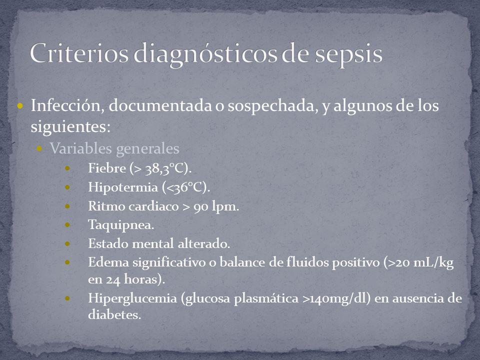 Infección, documentada o sospechada, y algunos de los siguientes: Variables generales Fiebre (> 38,3°C). Hipotermia (<36°C). Ritmo cardiaco > 90 lpm.