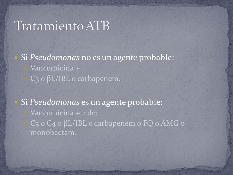 Si Pseudomonas no es un agente probable: Vancomicina + C3 o βL/IBL o carbapenem. Si Pseudomonas es un agente probable: Vancomicina + 2 de: C3 o C4 o β