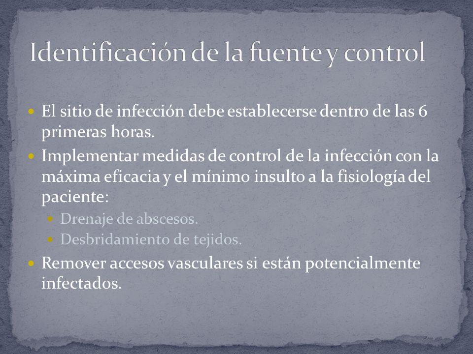 El sitio de infección debe establecerse dentro de las 6 primeras horas. Implementar medidas de control de la infección con la máxima eficacia y el mín