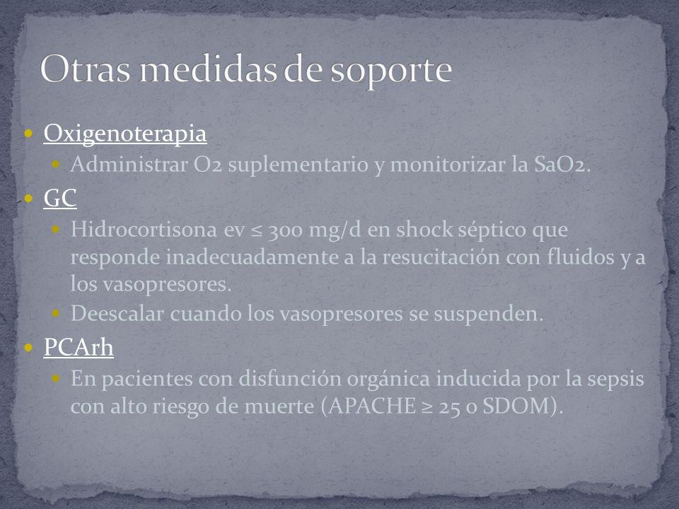 Oxigenoterapia Administrar O2 suplementario y monitorizar la SaO2. GC Hidrocortisona ev 300 mg/d en shock séptico que responde inadecuadamente a la re
