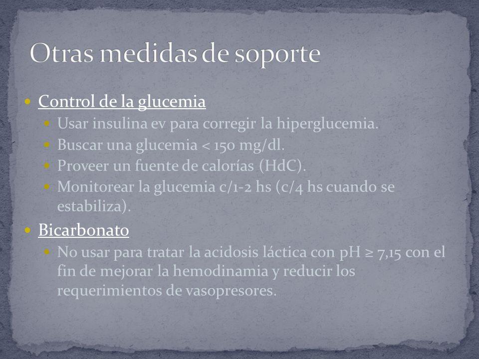 Control de la glucemia Usar insulina ev para corregir la hiperglucemia. Buscar una glucemia < 150 mg/dl. Proveer un fuente de calorías (HdC). Monitore