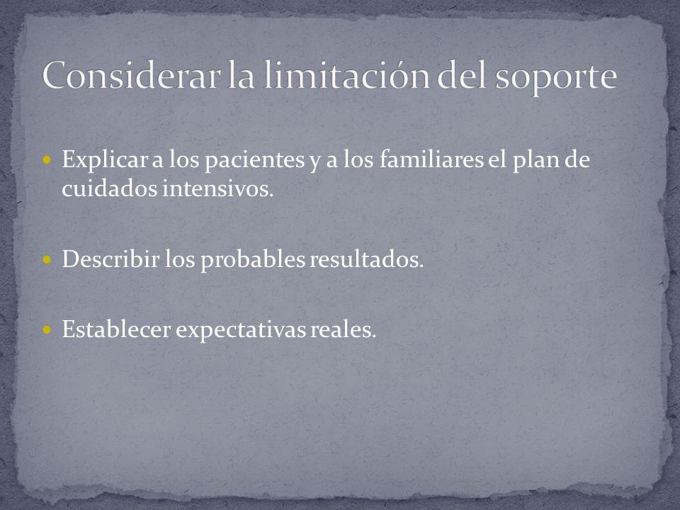 Explicar a los pacientes y a los familiares el plan de cuidados intensivos. Describir los probables resultados. Establecer expectativas reales.