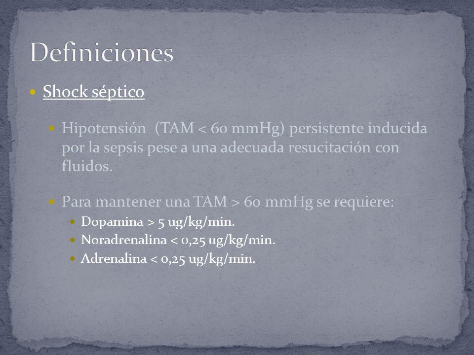 Shock séptico Hipotensión (TAM < 60 mmHg) persistente inducida por la sepsis pese a una adecuada resucitación con fluidos. Para mantener una TAM > 60