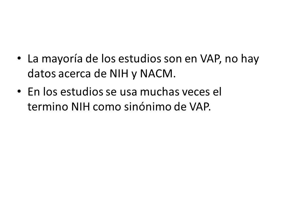 La mayoría de los estudios son en VAP, no hay datos acerca de NIH y NACM. En los estudios se usa muchas veces el termino NIH como sinónimo de VAP.