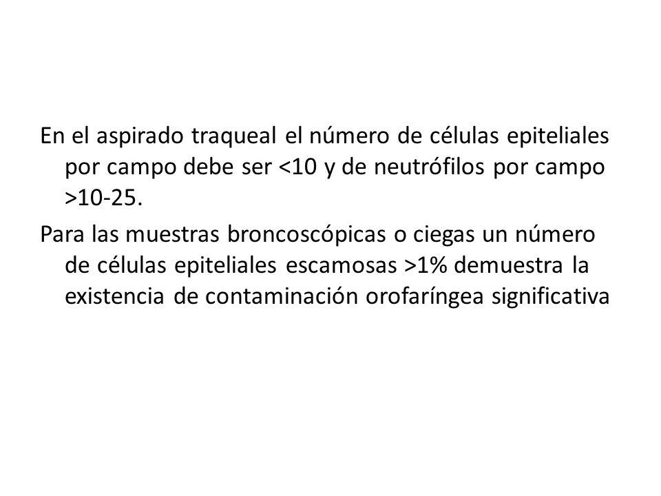 En el aspirado traqueal el número de células epiteliales por campo debe ser 10-25. Para las muestras broncoscópicas o ciegas un número de células epit