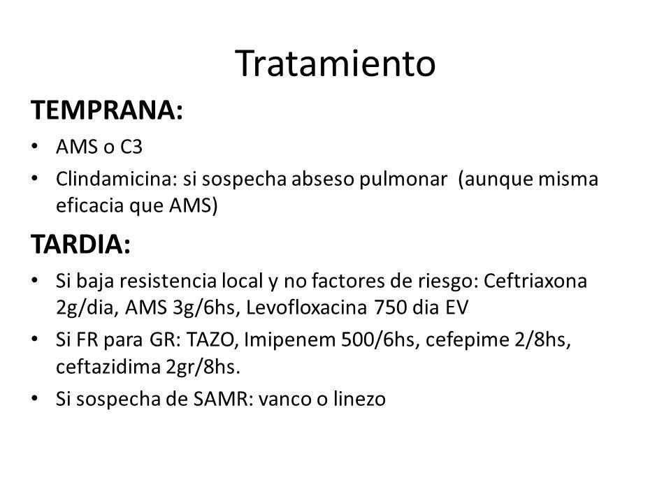 Tratamiento TEMPRANA: AMS o C3 Clindamicina: si sospecha abseso pulmonar (aunque misma eficacia que AMS) TARDIA: Si baja resistencia local y no factor