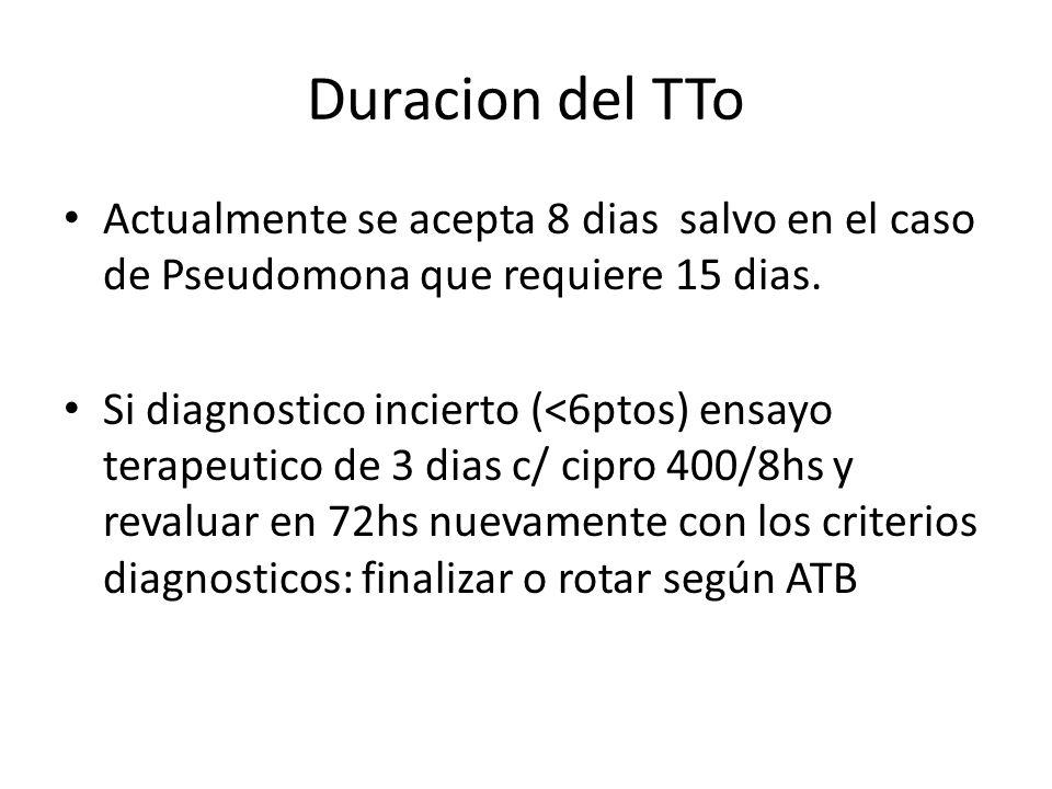 Duracion del TTo Actualmente se acepta 8 dias salvo en el caso de Pseudomona que requiere 15 dias. Si diagnostico incierto (<6ptos) ensayo terapeutico