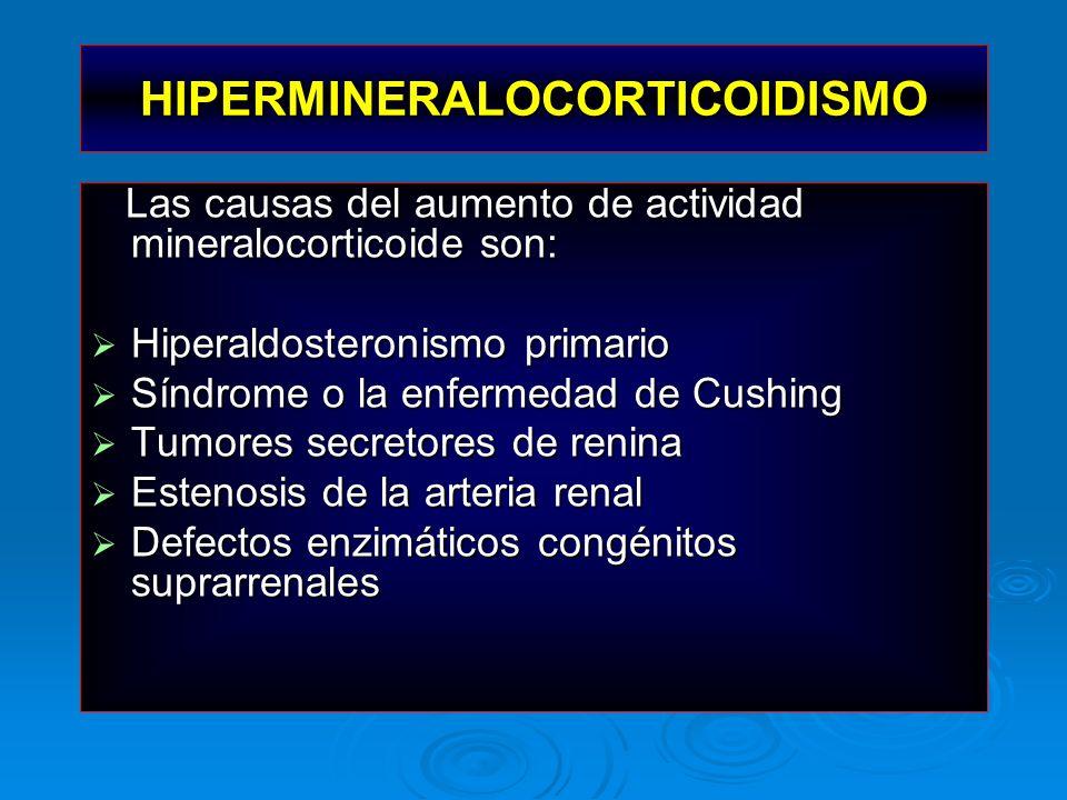 HIPERMINERALOCORTICOIDISMO Las causas del aumento de actividad mineralocorticoide son: Las causas del aumento de actividad mineralocorticoide son: Hip