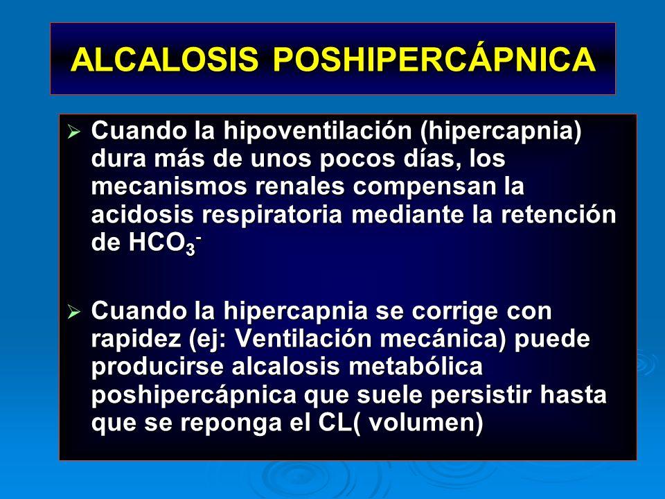 ALCALOSIS POSHIPERCÁPNICA Cuando la hipoventilación (hipercapnia) dura más de unos pocos días, los mecanismos renales compensan la acidosis respirator