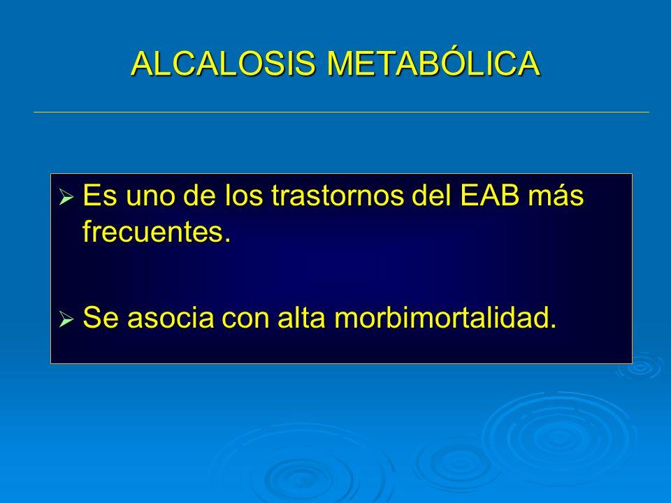 ALCALOSIS METABÓLICA Es uno de los trastornos del EAB más frecuentes. Es uno de los trastornos del EAB más frecuentes. Se asocia con alta morbimortali