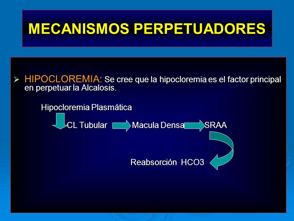 HIPOCLOREMIA: Se cree que la hipocloremia es el factor principal en perpetuar la Alcalosis. HIPOCLOREMIA: Se cree que la hipocloremia es el factor pri