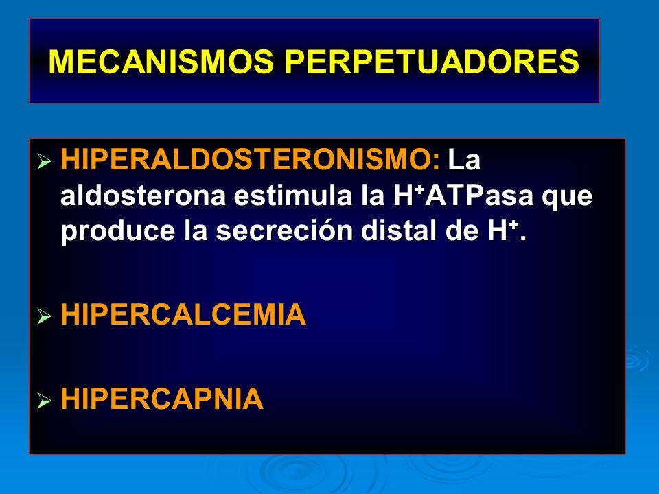 HIPERALDOSTERONISMO: La aldosterona estimula la H + ATPasa que produce la secreción distal de H +. HIPERALDOSTERONISMO: La aldosterona estimula la H +