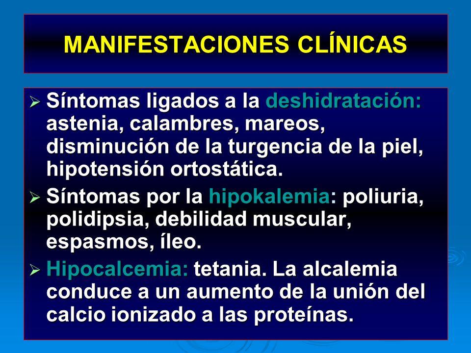 Síntomas ligados a la deshidratación: astenia, calambres, mareos, disminución de la turgencia de la piel, hipotensión ortostática. Síntomas ligados a
