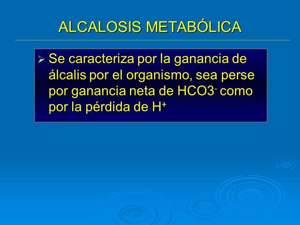 ALCALOSIS METABÓLICA Se caracteriza por la ganancia de álcalis por el organismo, sea perse por ganancia neta de HCO3 - como por la pérdida de H + Se c