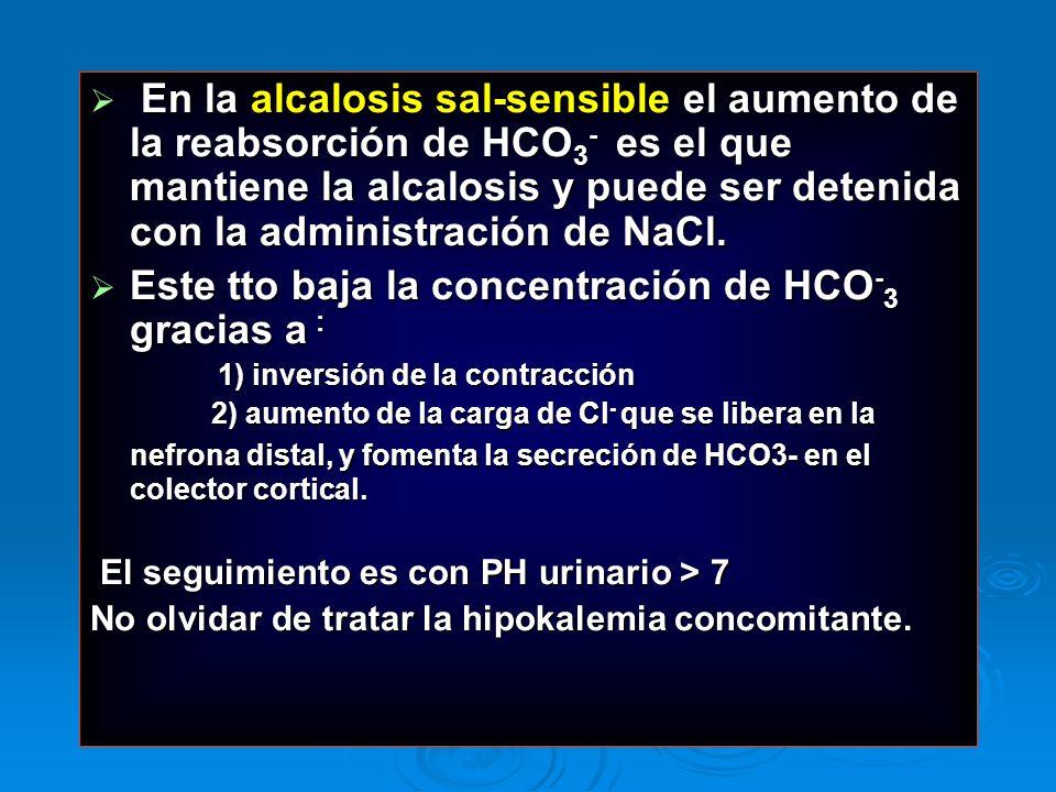 En la alcalosis sal-sensible el aumento de la reabsorción de HCO 3 - es el que mantiene la alcalosis y puede ser detenida con la administración de NaC