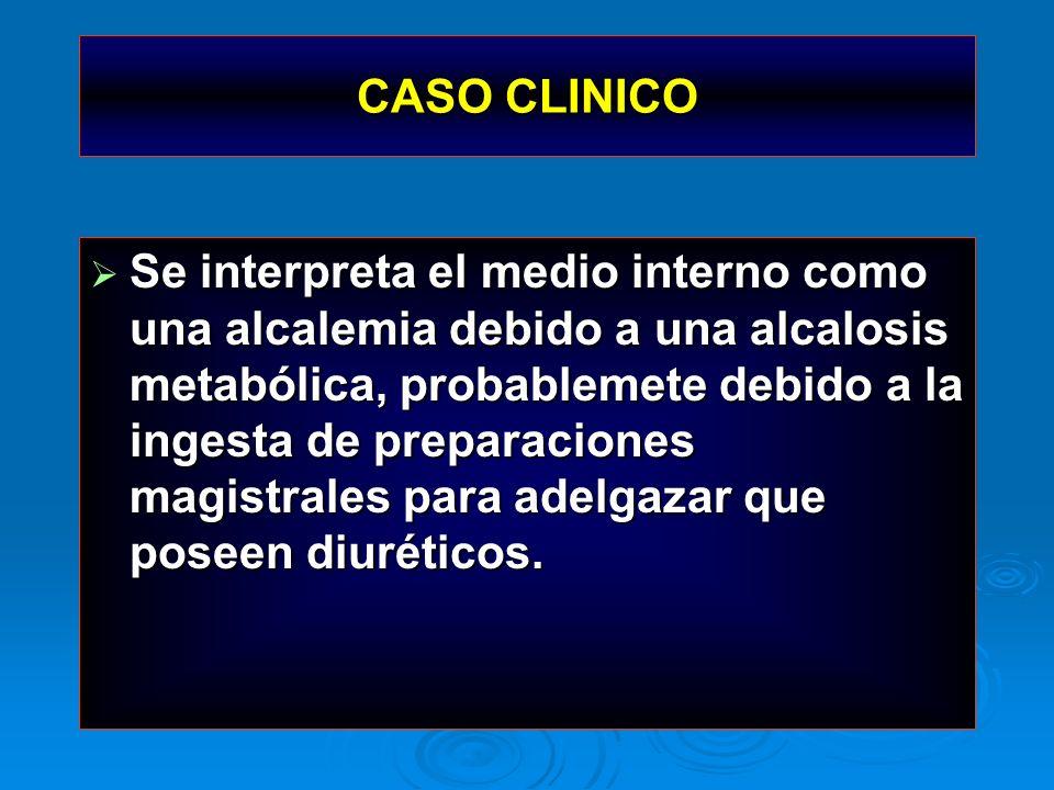 CASO CLINICO Se interpreta el medio interno como una alcalemia debido a una alcalosis metabólica, probablemete debido a la ingesta de preparaciones ma