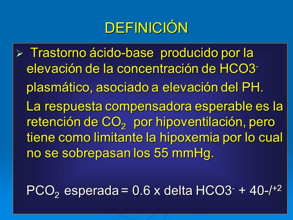 DEFINICIÓN Trastorno ácido-base producido por la elevación de la concentración de HCO3 - Trastorno ácido-base producido por la elevación de la concent
