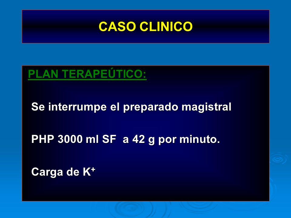 CASO CLINICO PLAN TERAPEÚTICO: PLAN TERAPEÚTICO: Se interrumpe el preparado magistral Se interrumpe el preparado magistral PHP 3000 ml SF a 42 g por m