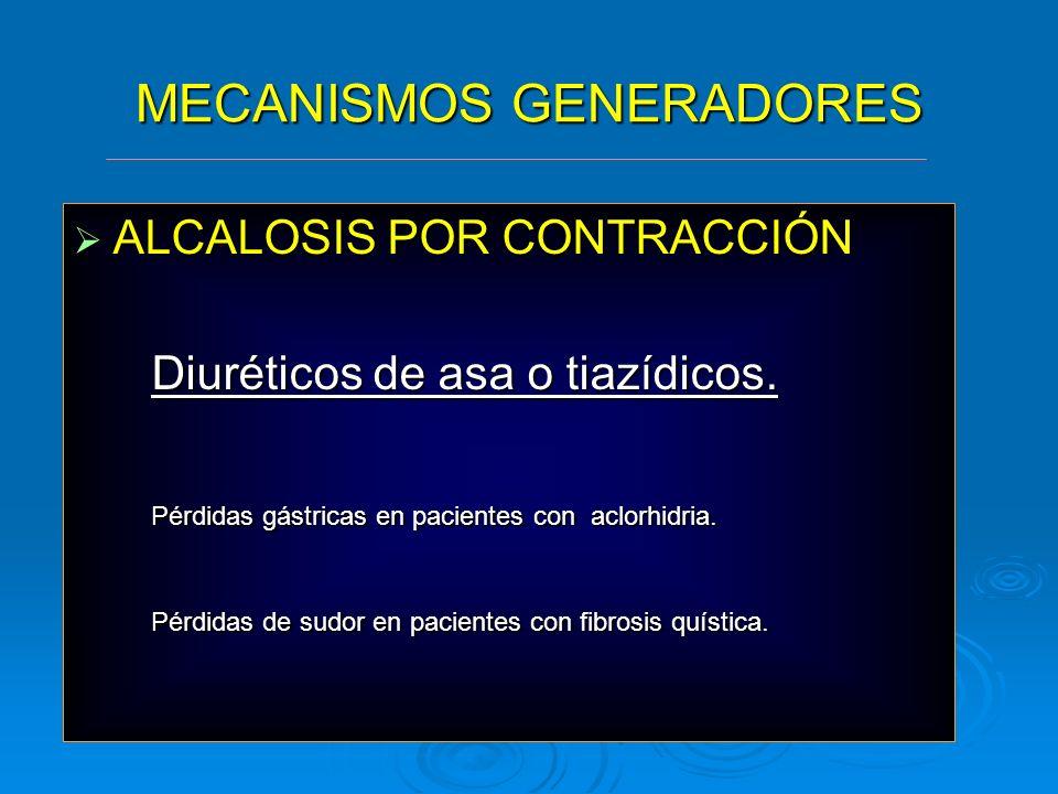 MECANISMOS GENERADORES ALCALOSIS POR CONTRACCIÓN ALCALOSIS POR CONTRACCIÓN Diuréticos de asa o tiazídicos. Diuréticos de asa o tiazídicos. Pérdidas gá