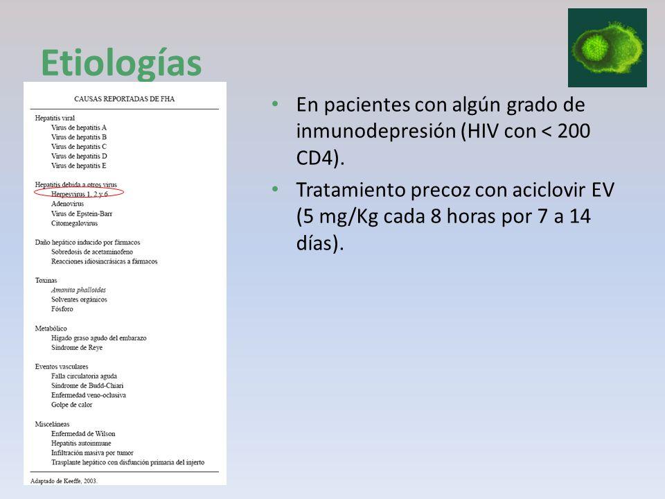Etiologías En pacientes con algún grado de inmunodepresión (HIV con < 200 CD4). Tratamiento precoz con aciclovir EV (5 mg/Kg cada 8 horas por 7 a 14 d