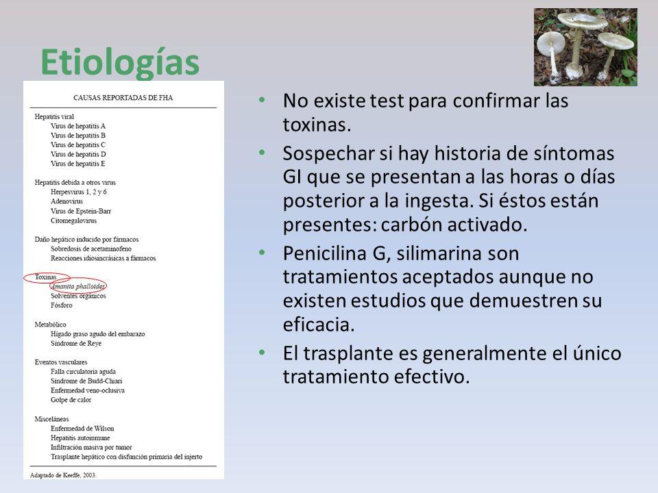 No existe test para confirmar las toxinas. Sospechar si hay historia de síntomas GI que se presentan a las horas o días posterior a la ingesta. Si ést