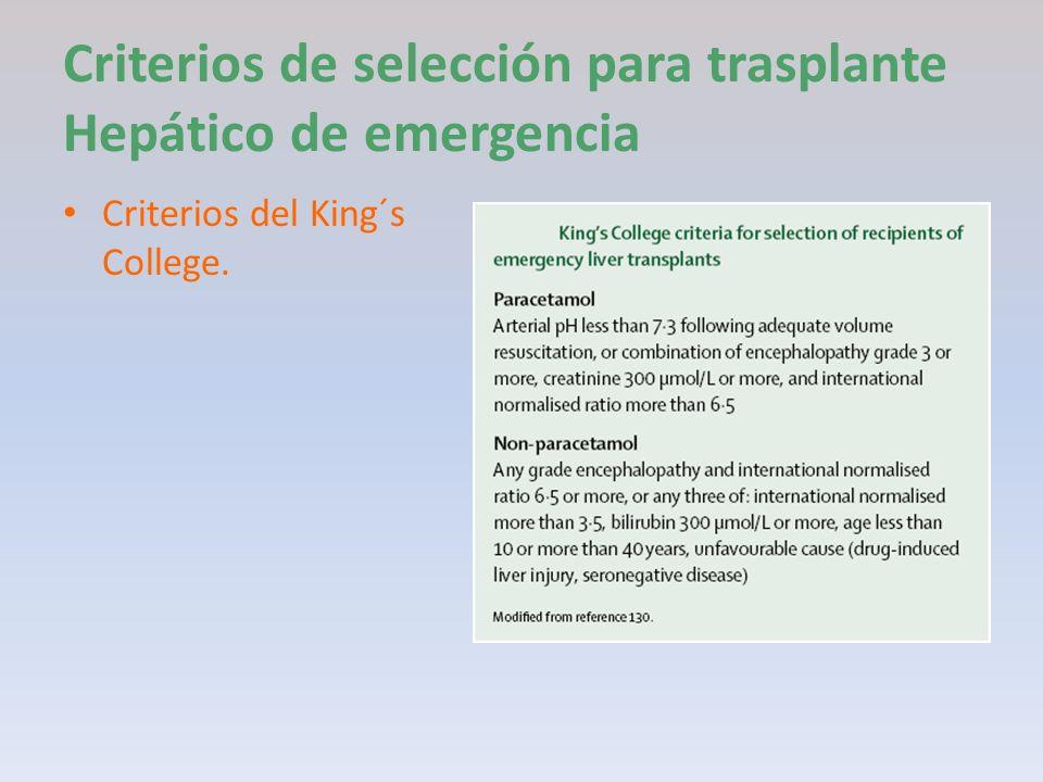 Criterios de selección para trasplante Hepático de emergencia Criterios del King´s College.