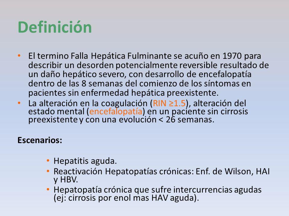 Definición El termino Falla Hepática Fulminante se acuño en 1970 para describir un desorden potencialmente reversible resultado de un daño hepático se