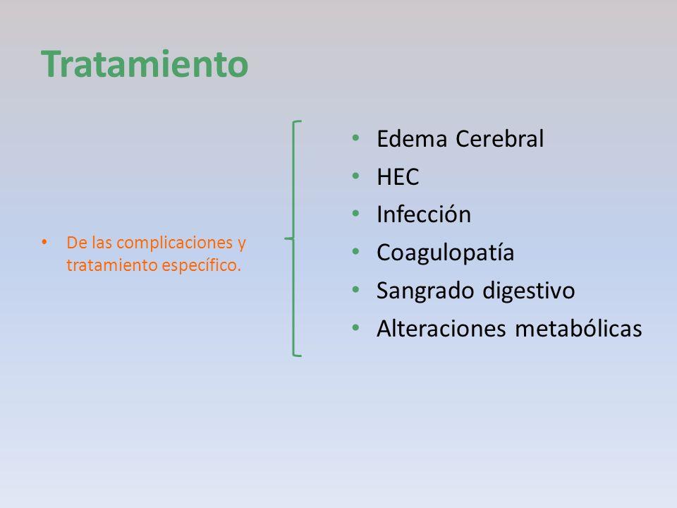 Tratamiento De las complicaciones y tratamiento específico. Edema Cerebral HEC Infección Coagulopatía Sangrado digestivo Alteraciones metabólicas