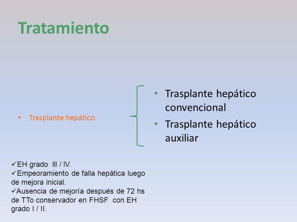 Tratamiento Trasplante hepático. Trasplante hepático convencional Trasplante hepático auxiliar EH grado lll / lV. Empeoramiento de falla hepática lueg