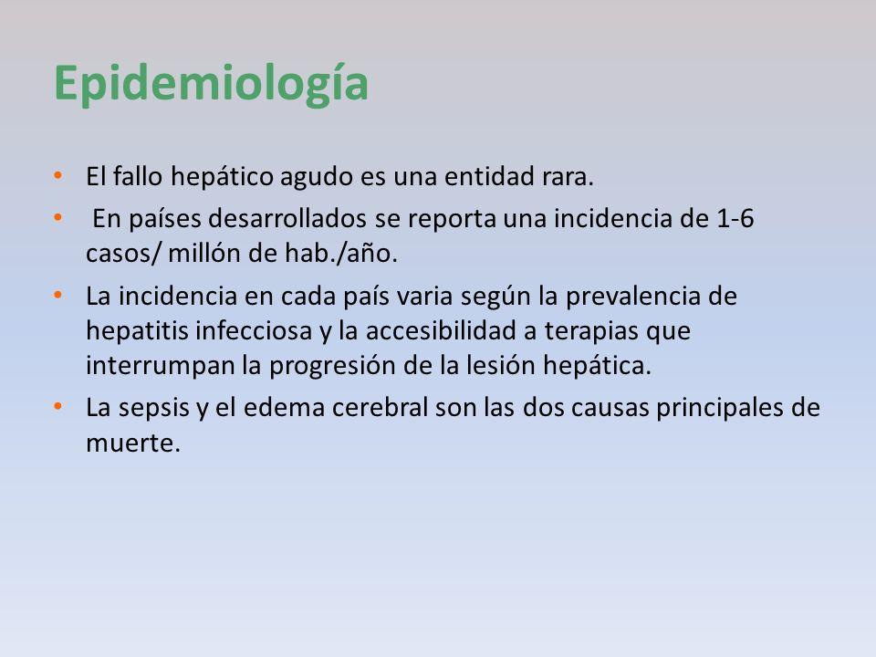 Epidemiología El fallo hepático agudo es una entidad rara. En países desarrollados se reporta una incidencia de 1-6 casos/ millón de hab./año. La inci