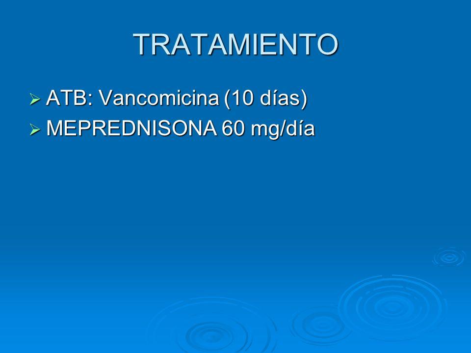 TRATAMIENTO ATB: Vancomicina (10 días) ATB: Vancomicina (10 días) MEPREDNISONA 60 mg/día MEPREDNISONA 60 mg/día