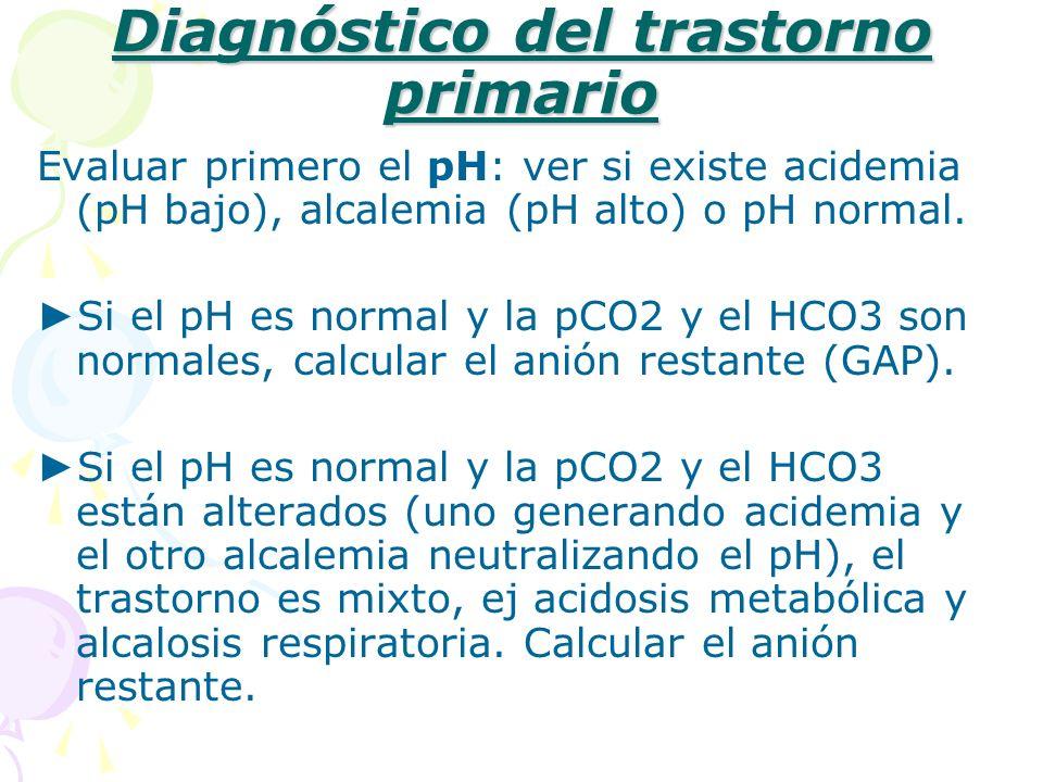 Diagnóstico del trastorno primario Evaluar primero el pH: ver si existe acidemia (pH bajo), alcalemia (pH alto) o pH normal. Si el pH es normal y la p