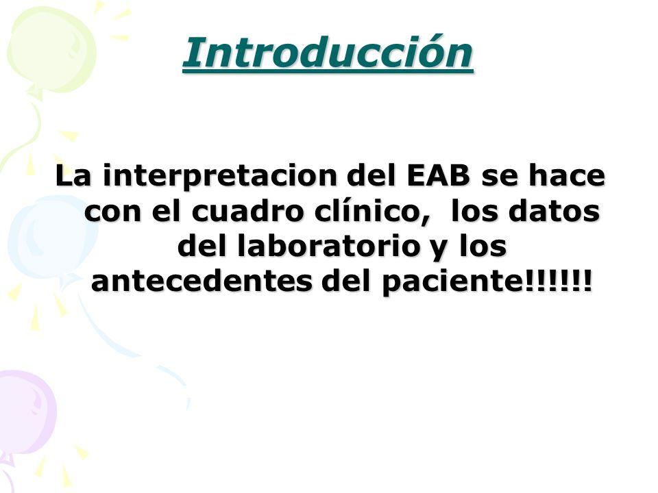 Introducción La interpretacion del EAB se hace con el cuadro clínico, los datos del laboratorio y los antecedentes del paciente!!!!!!