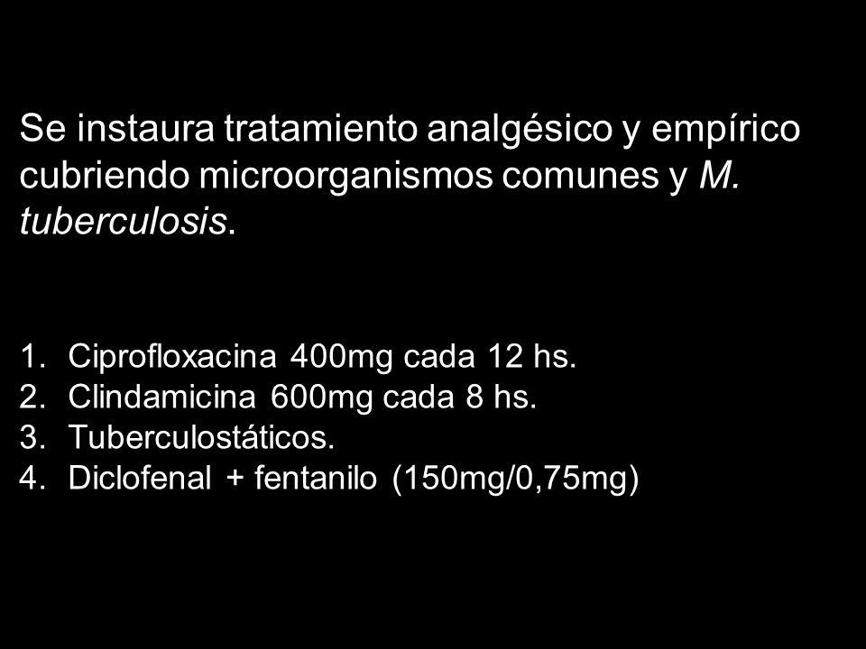 Se instaura tratamiento analgésico y empírico cubriendo microorganismos comunes y M. tuberculosis. 1.Ciprofloxacina 400mg cada 12 hs. 2.Clindamicina 6