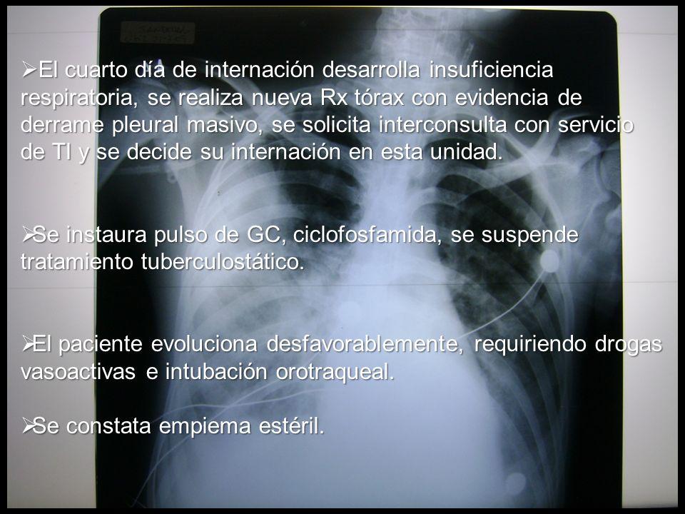 El cuarto día de internación desarrolla insuficiencia respiratoria, se realiza nueva Rx tórax con evidencia de derrame pleural masivo, se solicita int