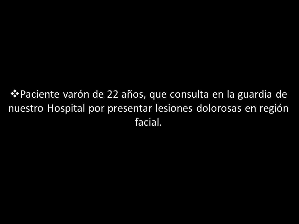 Enfermedad actual Paciente que refiere haber comenzado 6 días previos a la consulta con lesiones eritematosas en región malar derecha, cervical izquierda y otra en la región fronto-orbitaria.