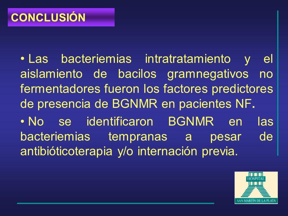 Las bacteriemias intratratamiento y el aislamiento de bacilos gramnegativos no fermentadores fueron los factores predictores de presencia de BGNMR en