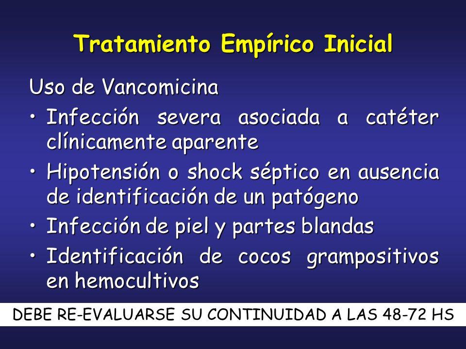 Tratamiento Empírico Inicial Uso de Vancomicina Infección severa asociada a catéter clínicamente aparenteInfección severa asociada a catéter clínicame