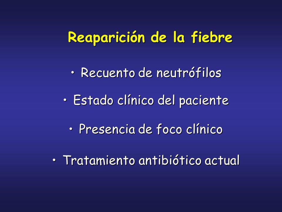Reaparición de la fiebre Recuento de neutrófilosRecuento de neutrófilos Estado clínico del pacienteEstado clínico del paciente Presencia de foco clíni