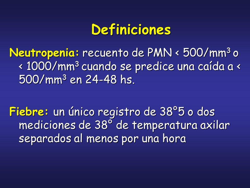 Neutropenia: recuento de PMN < 500/mm 3 o < 1000/mm 3 cuando se predice una caída a < 500/mm 3 en 24-48 hs. Fiebre: un único registro de 38°5 o dos me