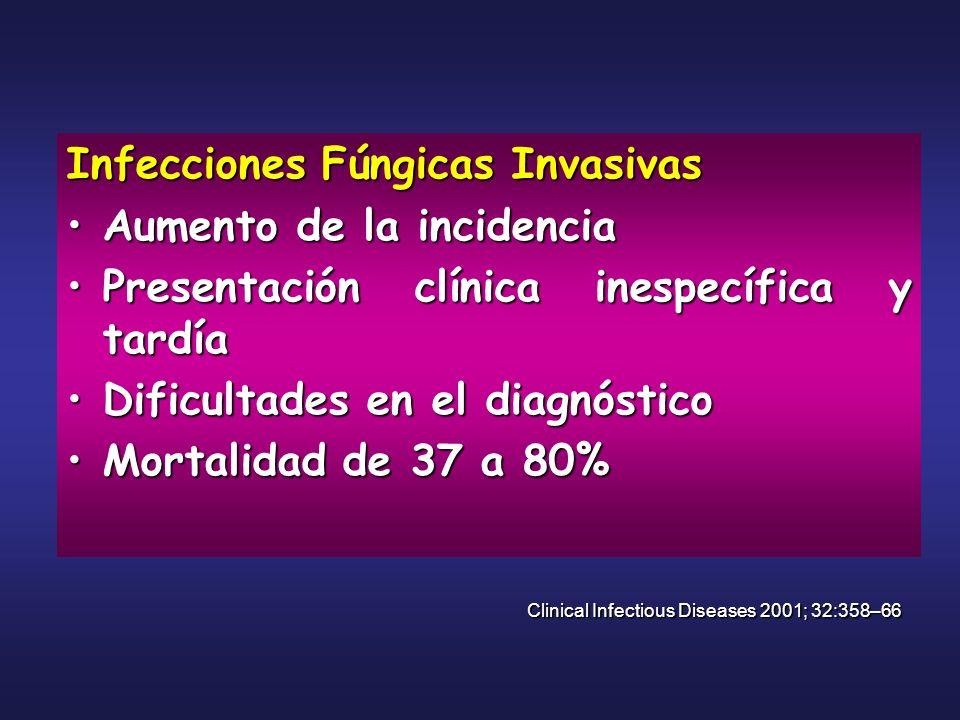 Infecciones Fúngicas Invasivas Aumento de la incidenciaAumento de la incidencia Presentación clínica inespecífica y tardíaPresentación clínica inespec