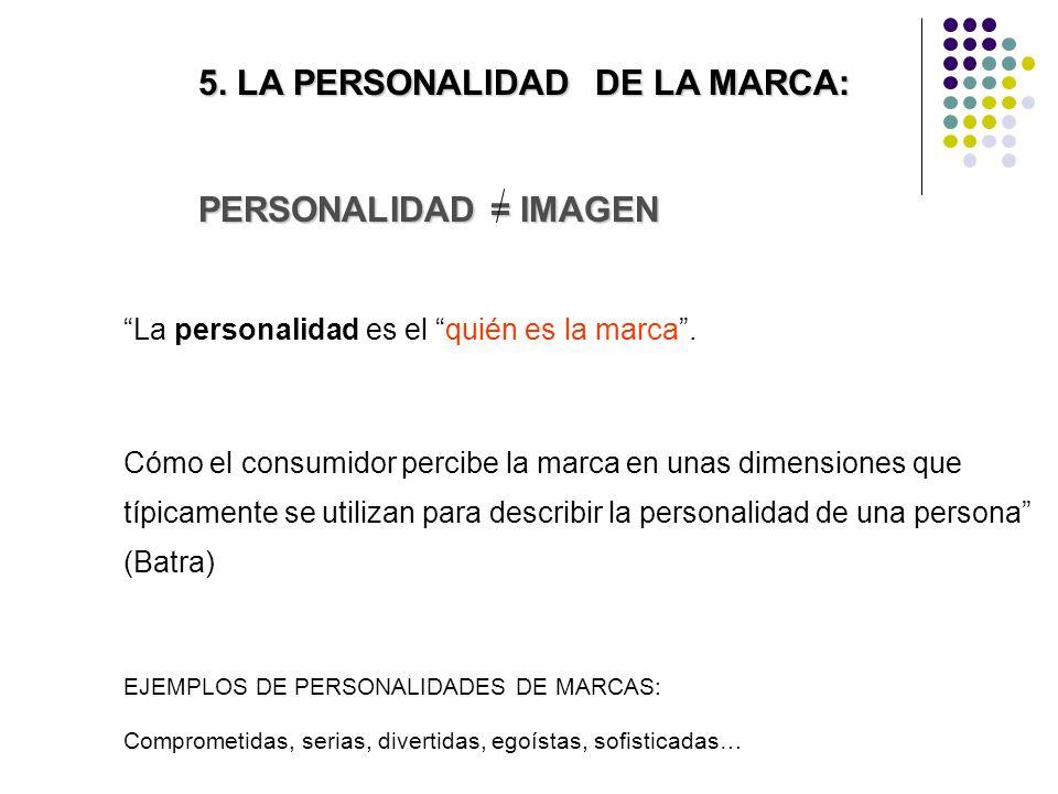 5. LA PERSONALIDAD DE LA MARCA: PERSONALIDAD = IMAGEN La personalidad es el quién es la marca.